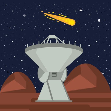Very large telescope pointing to the space vector illustration graphic design