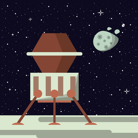 Spaceship in the moon vector illustration graphic design Vectores
