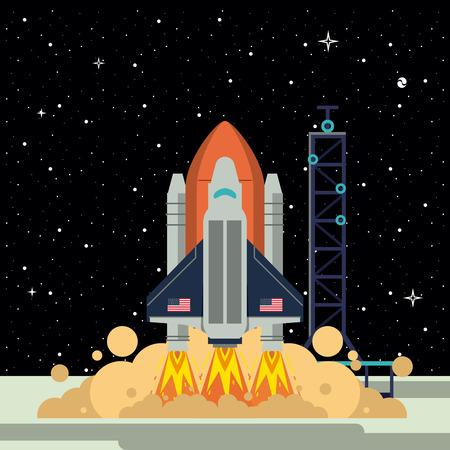 Spaceship rocket on station taking off vector illustration graphic design Illustration