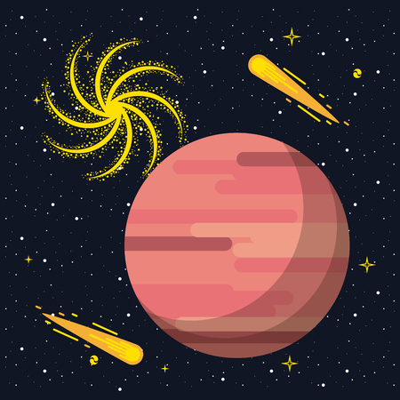 Mars over he galaxy vector illustration graphic design
