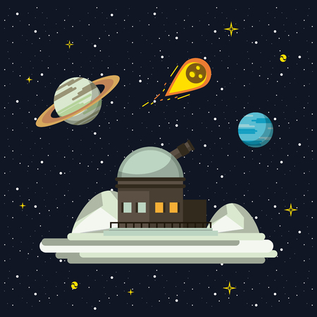 Very large telescope pointing to the space vector illustration graphic design vector illustration graphic design Иллюстрация
