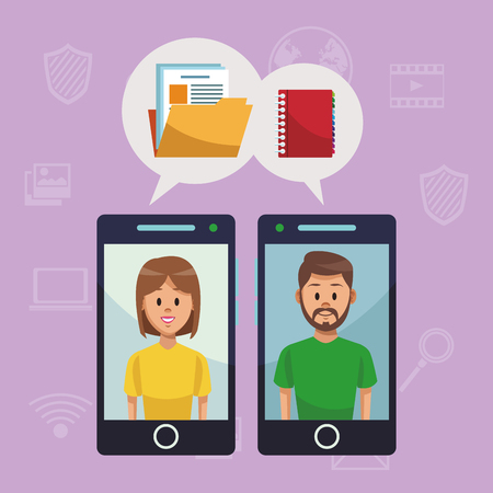 Navigating on social media from smartphone vector illustration graphic design