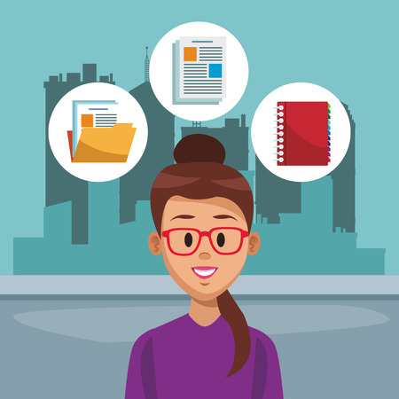 Young woman at the city with social media icons vector illustration graphic design Ilustração