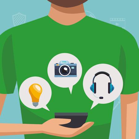 Man using smartphone for social media vector illustration graphic design Illustration