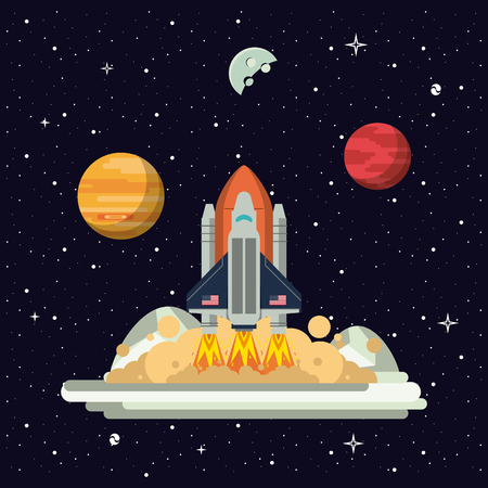 Spaceship rocket on station vector illustration graphic design vector illustration graphic design