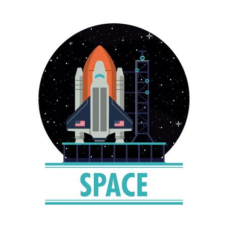 Spaceship rocket on station on round symbol vector illustration graphic design