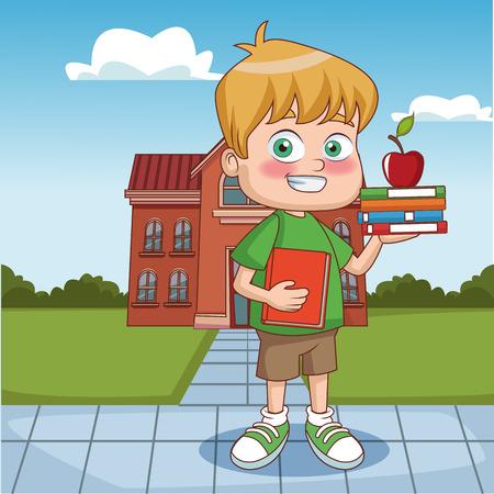 Garçon avec apple à l & # 39 ; extérieur de l & # 39 ; école bâtiment illustration vectorielle Banque d'images - 98191365