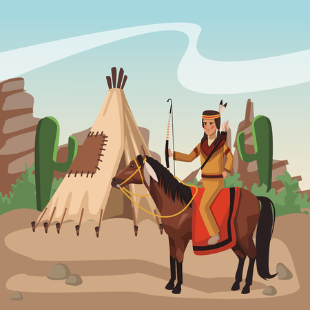 Indian riding horse at village cartoon vector illustration graphic design