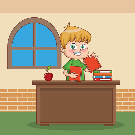 Happy Schoolboy at classroom vector illustration graphic design