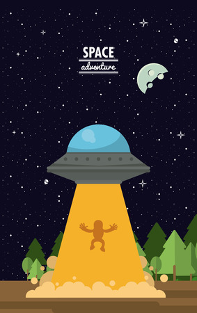 UFO extracting man in the earth vector illustration graphic design