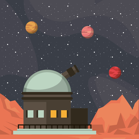 Very large telescope pointing to the space vector illustration graphic design vector illustration graphic design Vettoriali