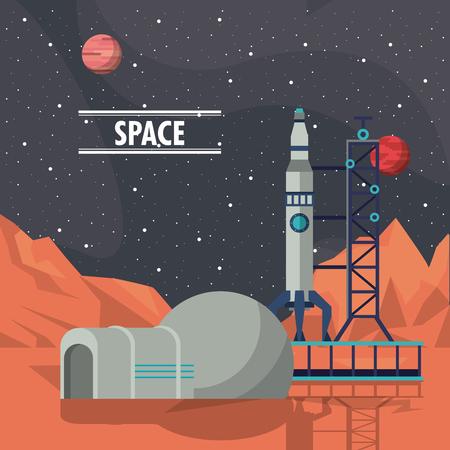 Mars igloo and spaceship adventure vector illustration graphic design
