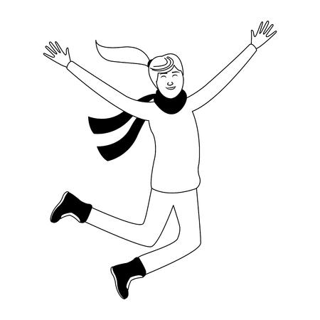 Happy woman on winter vector illustration graphic design Ilustração