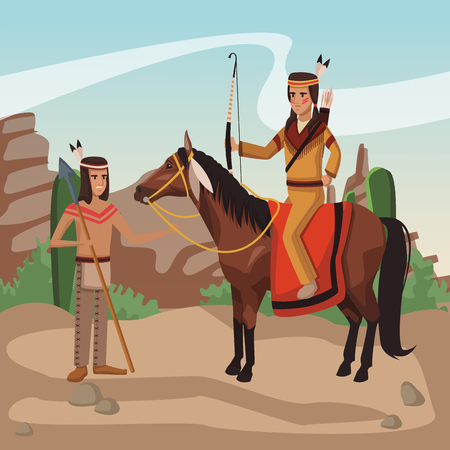 American indian tribe at village cartoon vector illustration graphic design