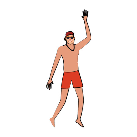 Man with swim suit jumping vector illustration graphic design