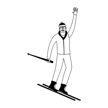 Man on sport skis vector illustration graphic design