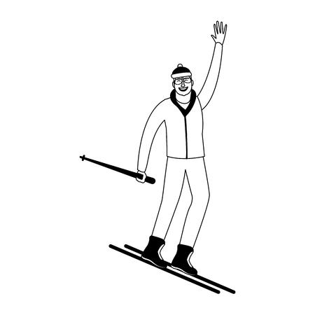 Man on sport skis vector illustration graphic design