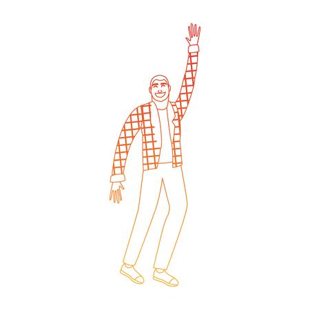 Young man happy cartoon vector illustration graphic design