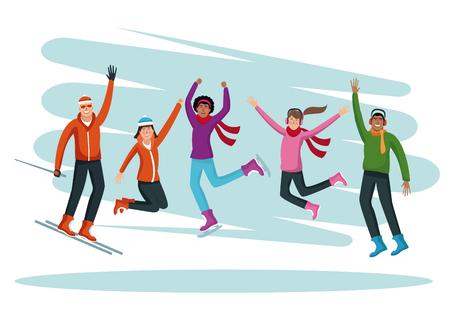 People happy on winter cartoons vector illustration graphic design. Stock Illustratie
