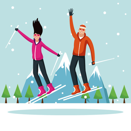 Man and woman with skis extreme sport vector illustration graphic design