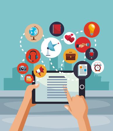 Navigating on social media from tablet vector illustration graphic design