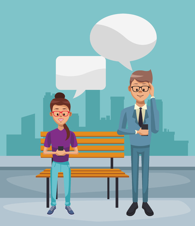 Young couple chatting with smartphone at city vector illustration graphic design.