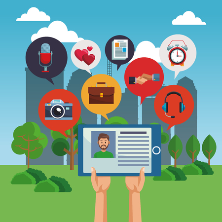Checking social media profile from tablet vector illustration graphic design Illustration