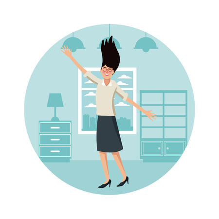 Happy business woman at home cartoon round symbol vector illustration graphic design Illustration