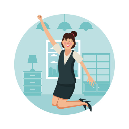 Happy business woman at home cartoon round symbol vector illustration graphic design.