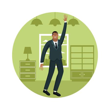 Happy businessman at home cartoon round symbol vector illustration graphic design Vectores