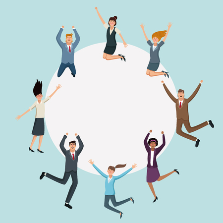 Happy business people jumping cartoons vector illustration graphic design.
