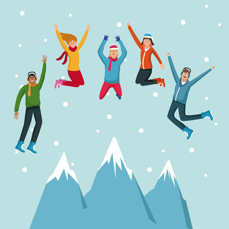 People happy on winter cartoons vector illustration graphic design. Illustration
