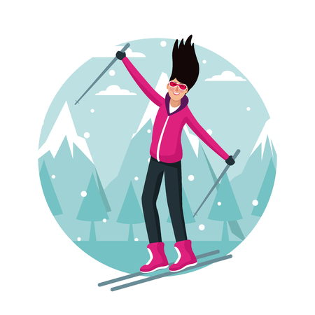 Woman with skis cartoon round symbol vector illustration graphic design.