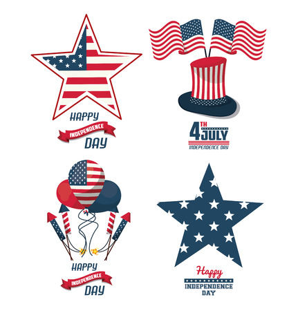 Set of USA independence day cards vector illustration graphic design
