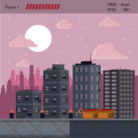 Pixelated urban video game scenery vector of buildings illustration graphic design  イラスト・ベクター素材