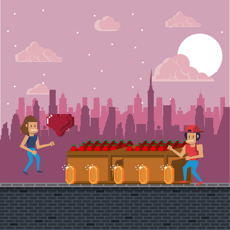 Pixelated urban video game scenery for fight illustration graphic design Ilustracja