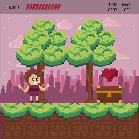 Pixelated urban videogame scenery for fight vector illustration graphic design Ilustração