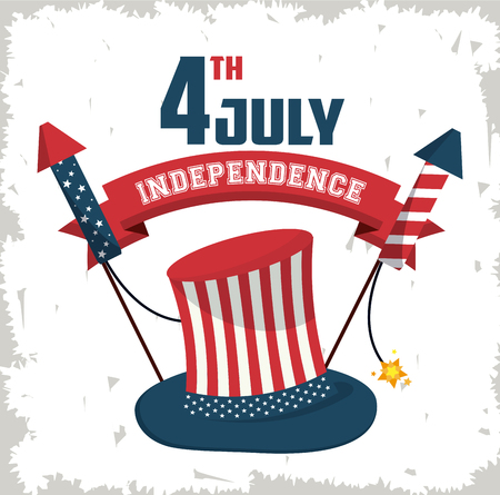 USA independence day card with cartoons vector illustration graphic design Illustration