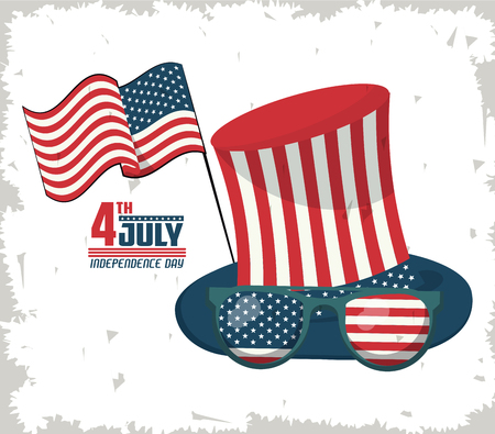 USA independence day card with cartoons vector illustration graphic design with USA hat