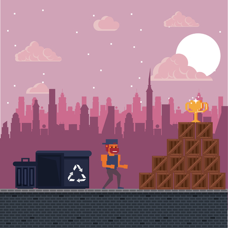 Pixelated urban video game scenery for fight vector illustration graphic design