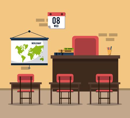 Empty classroom interior cartoon vector illustration graphic design 일러스트