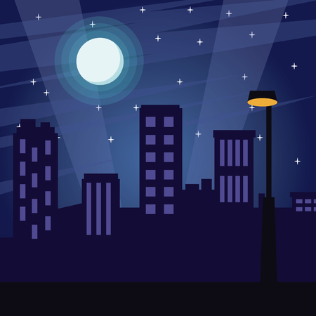 City at night cartoon vector illustration graphic design.