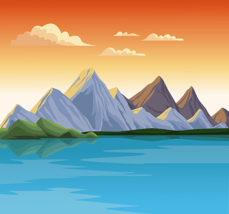 Beautiful nature landscape with lake vector illustration graphic design.