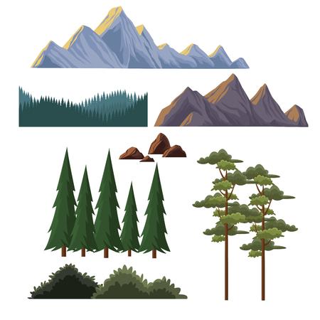Elements of landscape vector illustration graphic design