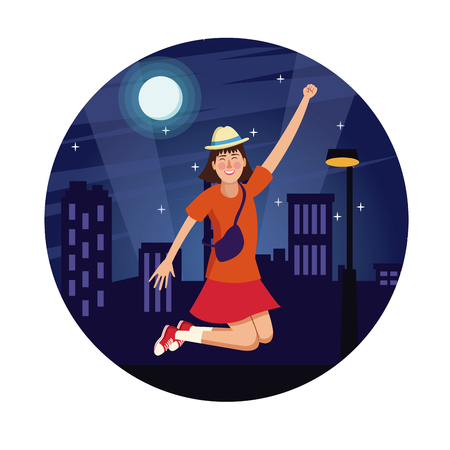 Happy young woman at city round icon vector illustration graphic design. Vettoriali