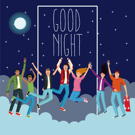 Good night and young people cartoons vector illustration graphic design.