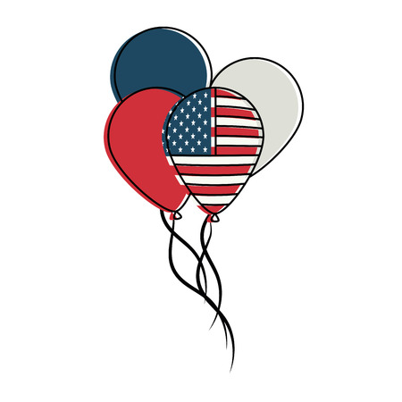 USA balloons flying vector illustration graphic design