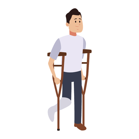 Man walking with leg cast vector illustration graphic design