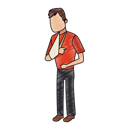 Man with cast arm vector illustration graphic design.