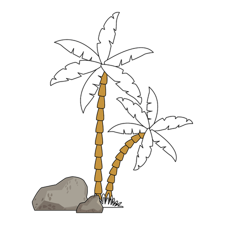 Palms with rocks vector illustration graphic design